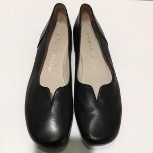 """Antonio Melani Flat (1/2"""" heels) Black Loafers"""